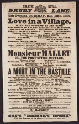 Playbill announcing John Gay's Beggar's Opera. Presented Tuesday, December 10th, 1839 at Drury Lane.