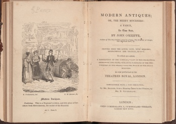 Modern antiques, or, The merry mourners, the frontispiece and title page.