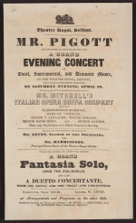 Playbill announcing Mr. Piggott the violoncellist's Grand Concert. Presented Saturday, April 28th, at Theatre Royal, Belfast.