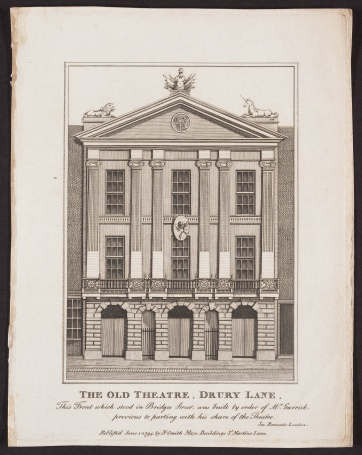 The Old Theatre, Drury Lane, by John Thomas Smith, an engraving.