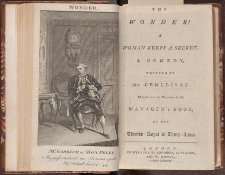 The wonder ! : a woman keeps a secret : a comedy / written by Mrs. Centlivre, the frontispiece and title page.