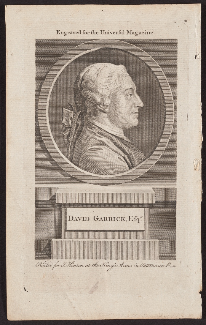 David Garrick, Esq., by Thomas Nicolas Cochin, an engraving.