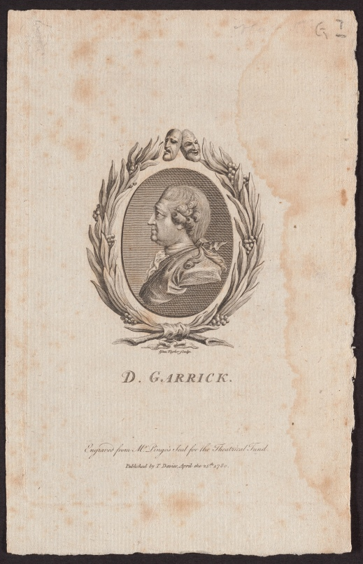 D. Garrick, by Lewis Pingo, an engraving.