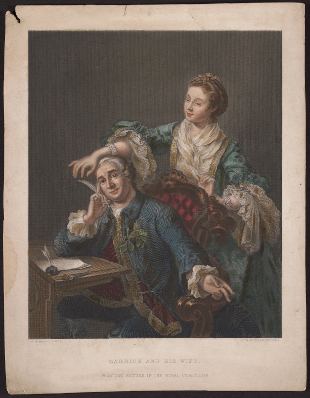 David Garrick and his wife, by Herbert Bourne, a hand-coloured engraving.