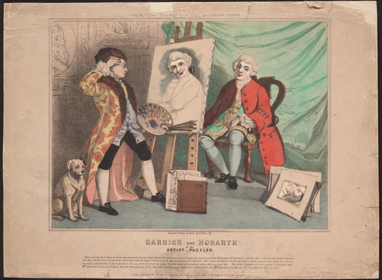 Garrick and Hogarth, by Richard Evan Sly [state 1/3], a hand-coloured lithograph.