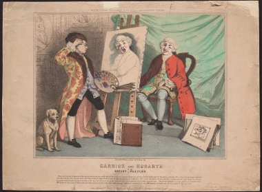 Garrick and Hogarth, by Richard Evan Sly [state 2/3], a hand-coloured lithograph.