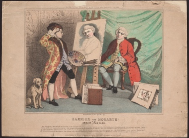Garrick and Hogarth, by Richard Evan Sly [state 3/3], a hand-coloured lithograph.