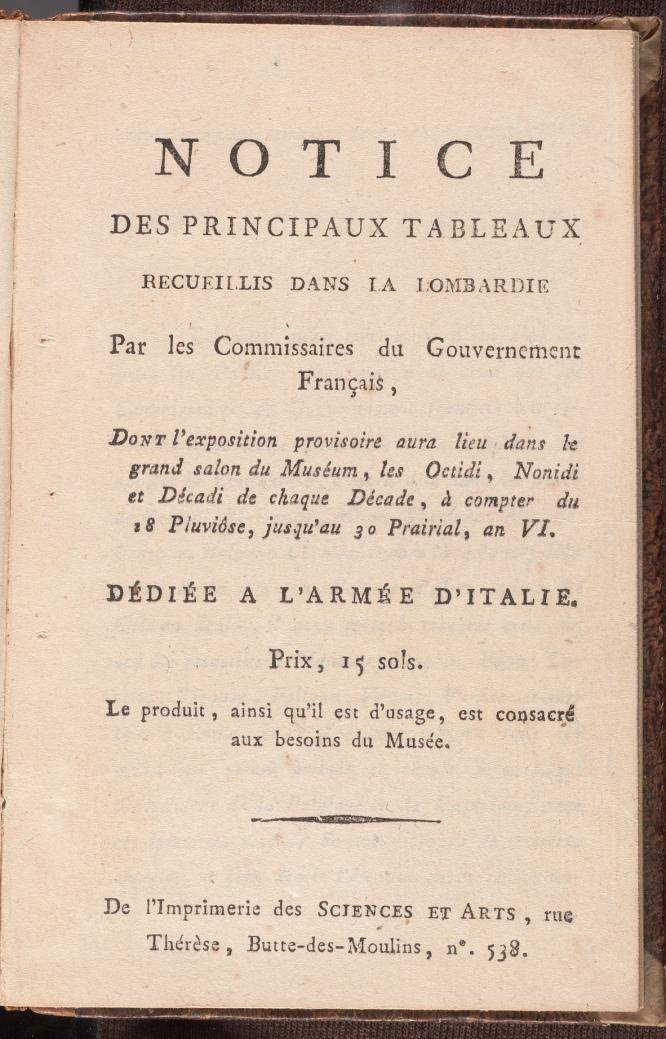 Notice des principaux tableaux recueillis dans la Lombardie / par les commissaires du gouvernement français, the title page.