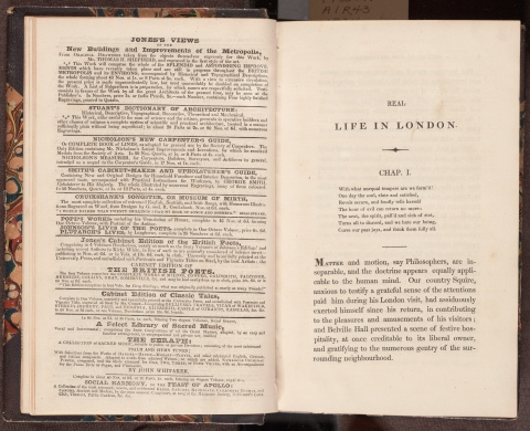 Real life in London, or, The rambles and adventures of Bob Tallyho, Esq. and his cousin, the Hon. Tom. Dashall, through the metropolis : exhibiting a living picture of fashionable characters, manners, and amusements in high and low life, page 2 and facing