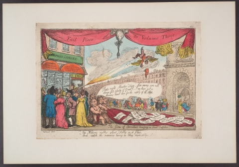 The Genii of caricature bringing in fresh supplies, by George Moutard Woodward, a hand-coloured etching.