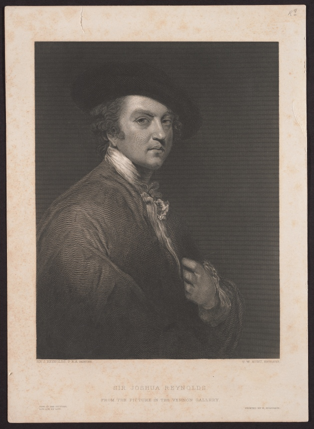 Self portrait, by Sir Joshua Reynolds, engraving and stipple.