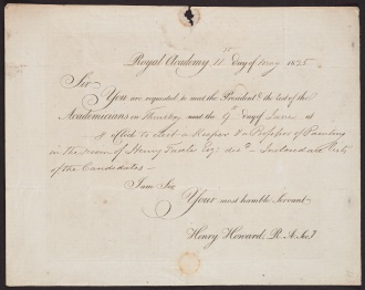 [Request] 1825 May 11,Royal Academy [London, to] C. Rossi [London], the front.