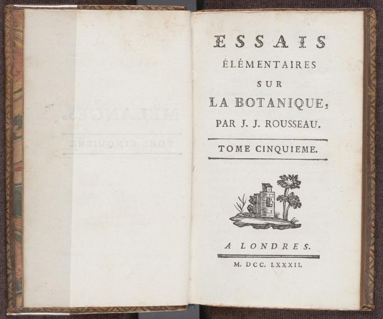 """Essais élémentaires sur la botanique, fifth volume of Rousseau's collected works under the title """"Mélanges"""", the title page"""