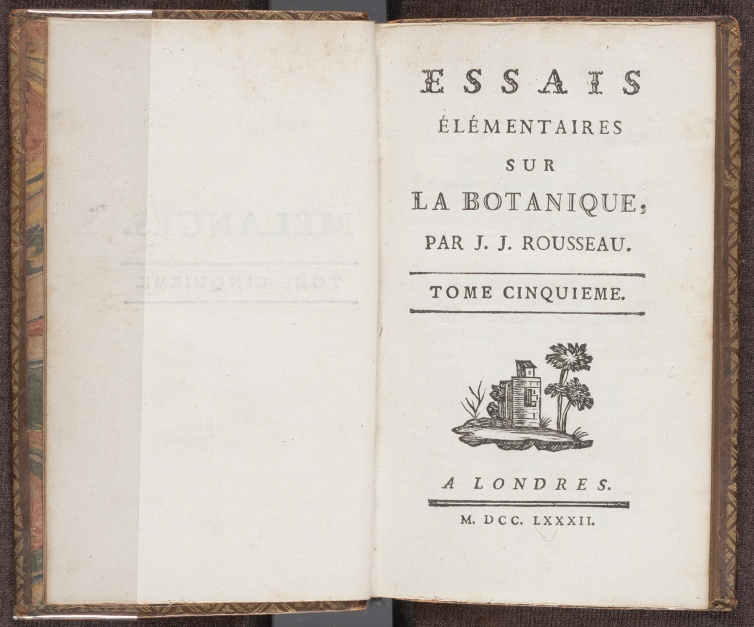 "Essais élémentaires sur la botanique, fifth volume of Rousseau's collected works under the title ""Mélanges"", the title page"