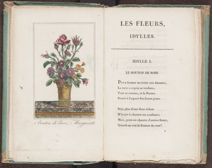 Les fleurs, idylles, illustration and first idyll, a poetry book