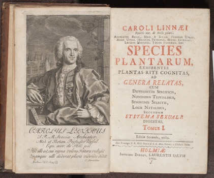 Species Plantarum, engraved portrait frontispiece and title page