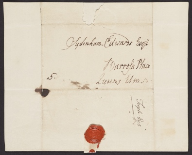 Address and seal of a letter from Henry Fuseli to Sydenham Edwards