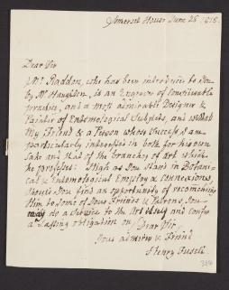 Manuscript letter from Henry Fuseli