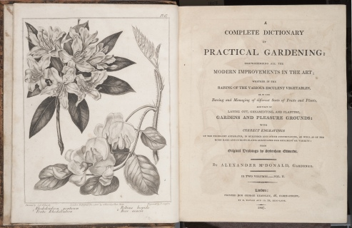 A Complete Dictionary of Practical Gardening, title page and frontispiece by Sydenham Edwards