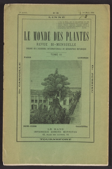 Journal Le Monde des Plantes, printed cover