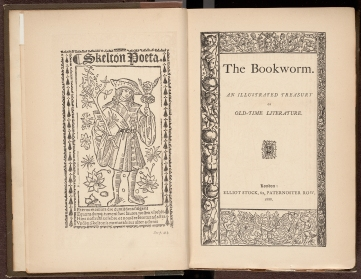 Title page and frontispiece of The Bookworm : an illustrated treasury of old-time literature.