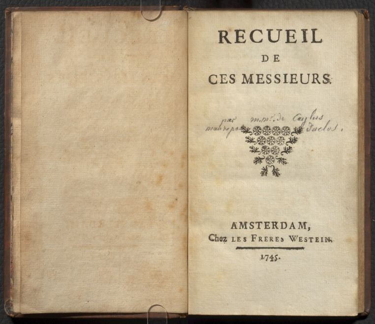 Recueil de ces Messieurs, title page