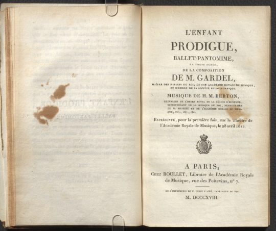 L'enfant prodigue, title page