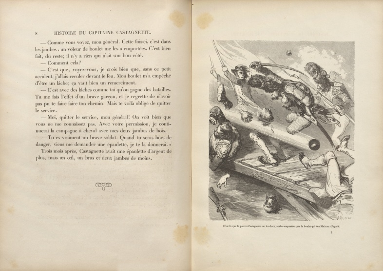 Histoire aussi intéressante qu'invraisemblable, page 8 and illustration on opposite