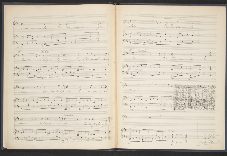 """La fleur qui va sur l'eau"", two last pages of the manuscript music score with Gabriel Fauré's autograph signature, 13 septembre 1902"