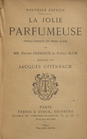 La jolie parfumeuse, title page from vol. 17 of a collected work on French theatre