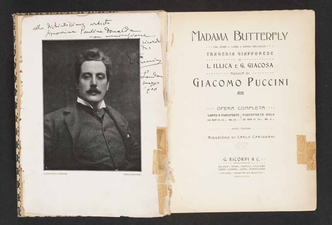 Madama Butterfly, title page and composer's portrait on opposite page