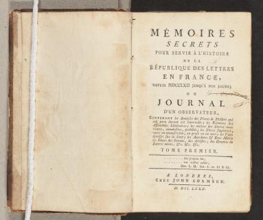 Mémoires secrets, title page