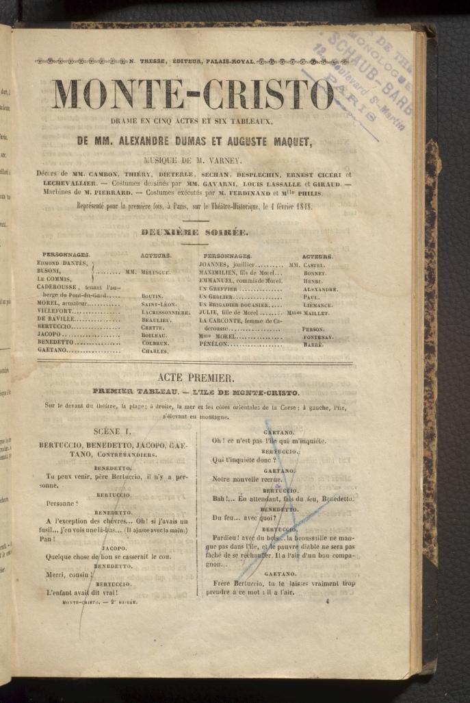 Monte-Cristo, title page