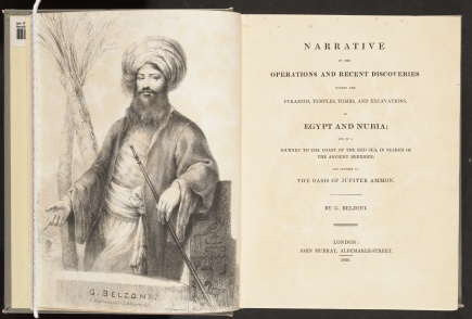 Narrative… Egypt and Nubia, title page and frontispiece of Belzoni