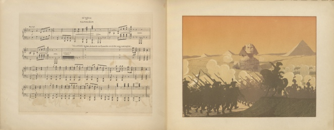 """Le sphinx, music score """"14e tableau. Napoléon"""", and lithograph on opposite page"""