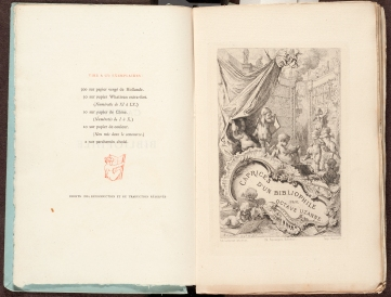 Title page and preliminary page of Caprices d'un bibliophile / par Octave Uzanne.