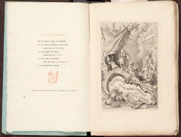 Title page and preliminary page of Caprices d'un bibliophile / par Octave Uzanne.