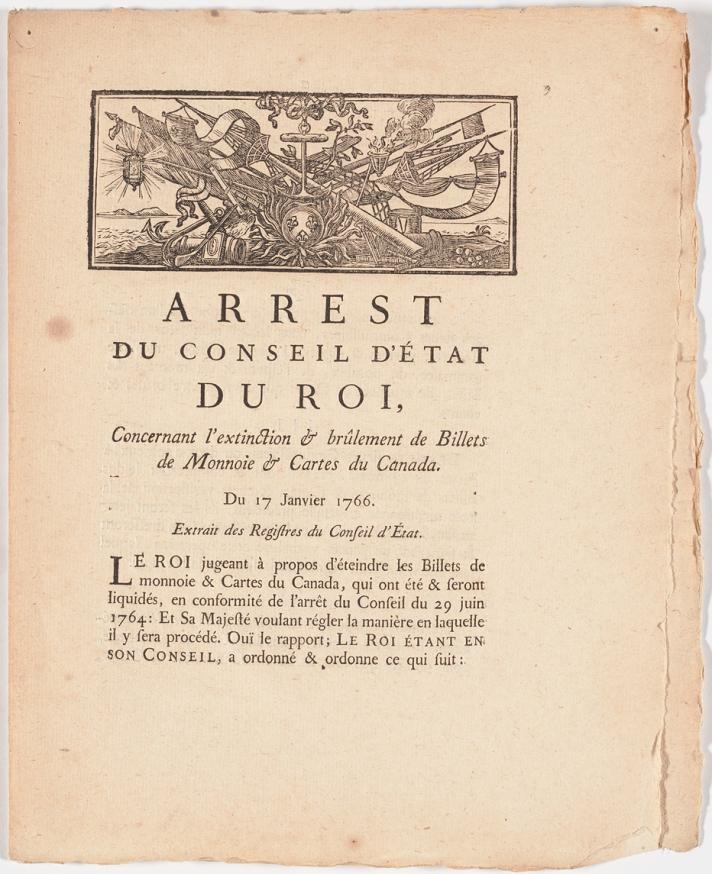 Title page of Arrest du Conseil d'état du roi : concernant l'extinction & brûlement de bullets de monnoie & cartes du Canada, du 17 janvier 1766.