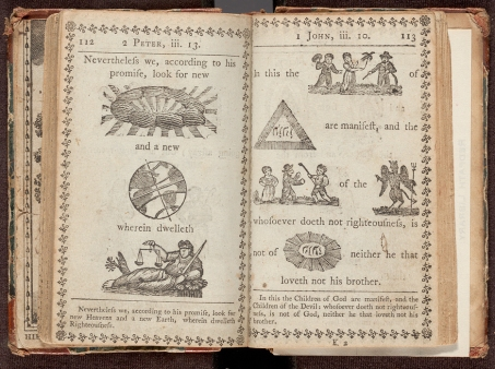 Pages 112 and 113 of A new hieroglyphical Bible for the amusement & instruction of children : being a selection of the most useful lessons, and most interesting narratives (scripturally arranged) from Genesis to the Revelations.
