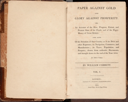 Title page of Paper against gold and glory against prosperity, or, An account of the rise, progress, extent, and present state of the funds and of the paper- money of Great Britain.