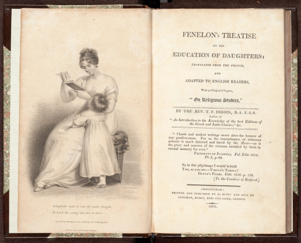 "Title page and frontispiece of Fénelon's Treatise on the education of daughters / translated from the French, and adapted to English readers, with an original chapter, ""On religious studies"", by T.F. Dibdin."