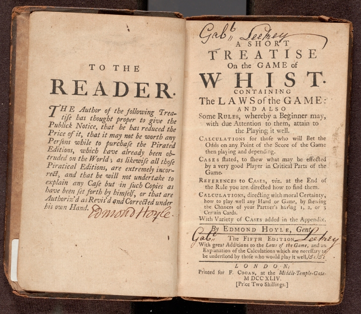 Title page and preliminary page of A short treatise on the game of whist. : Containing the laws of the game and also some rules, whereby a beginner may, with due attention to them, attain to the playing it well ... / By Edmond Hoyle, gent.