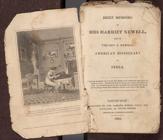Title page and frontispiece of Brief memoirs of Mrs. Harriet Hewell, wife of the Rev. S. Newell, African missionary to India.