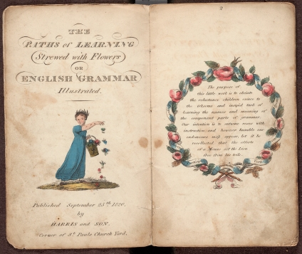 Title page and frontispiece of The paths of learning strewed with flowers, or, English grammar illustrated.