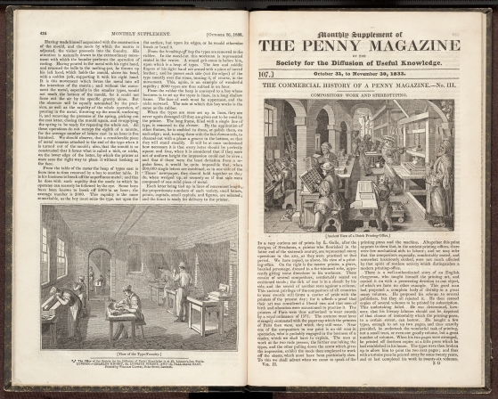 Front page of Monthly supplement of the Penny Magazine, November 1833.