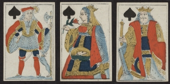 Jack, Queen and King of spades, 1816.