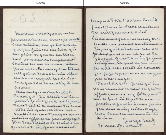 Manuscript letter from George Sand to Auguste Nefftzer.